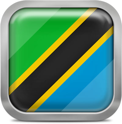 Tanzania square flag with metallic frame