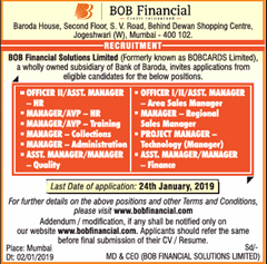 BOB Financial Advertisement 2019 indgovtjobs