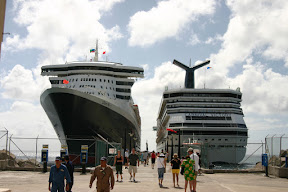 Queen Mary 2 and Carnival Victory docked in Basseterre, Saint Kitts