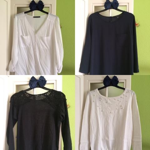 una blusa blanca, una blusa oscura, un jersey blanco, un jersey oscuro,prendas basicas fondo de armario