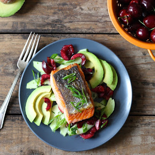 Salmon with Cucumber, Cherry and Avocado