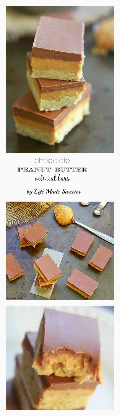 Chocolate Peanut Butter Layered Oatmeal Bars - Layers of rich chocolate and creamy peanut butter over a soft and chewy oatmeal cookie base. Makes an easy and delicious sweet and salty treat!.jpg