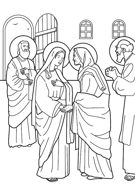 Virgin Marie visit to elizabeth coloring pages