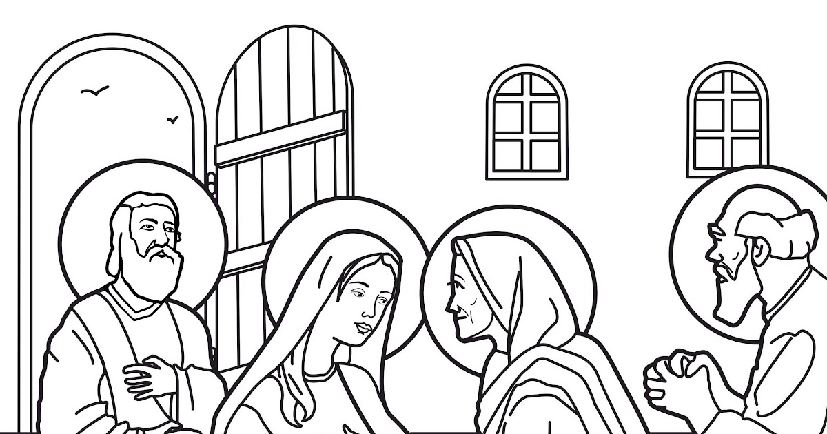 Virgin marie visit to elizabeth coloring pages coloring for Mary visits elizabeth coloring page