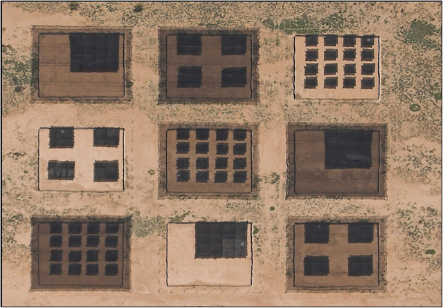 Sears, et al., modeled the spatially explicit movements of animals constrained by access to thermal resources. Outdoor arenas (400 m2) were used to manipulate thermal landscapes. Each arena represented a combination of spatial dispersion from clumped to dispersed (1, 4, or 16 patches of shade) and background shade (0%, 30%, or 50%). Photo: Sears, et al., 2016 / PNAS