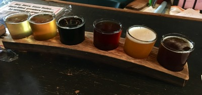 Six beer samples set in a bowed wood plank