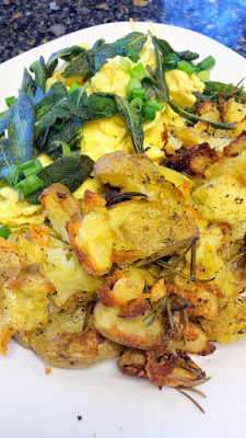 Crispy smashed potatoes, good with anything, breakfast lunch or dinner!