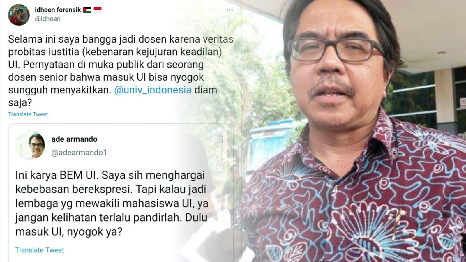 Ade Armando Diserang Alumni Gegara Sindir BEM UI Sebut 'Masuk UI Nyogok Ya?'