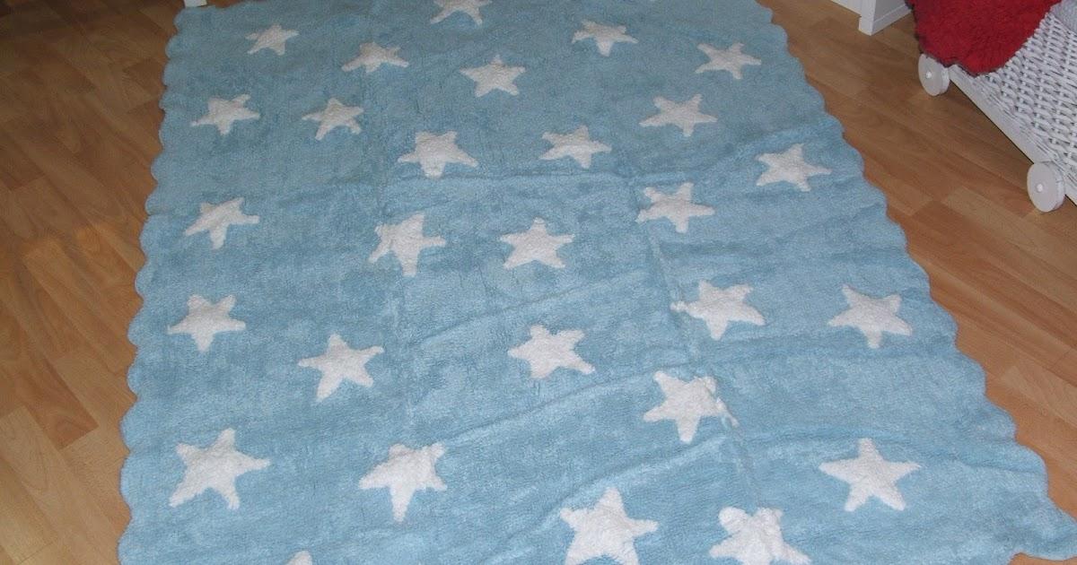 Luna lunera alfombra algod n estrellas celeste for Alfombra vinilica infantil