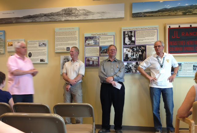 "Four of the 19 grandchildren sharing, stories. L to R. Norm Jones, Thorney Smith, Larry Smith and Lloyd ""Pen"" Jones III. — at History Exhibit at CMSP."