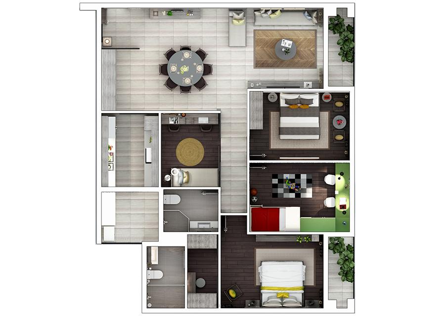 Phối cảnh 2D căn hộ 3 phòng ngủ DT: 123,56m2