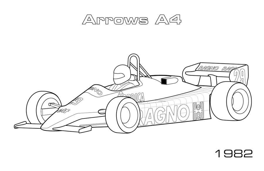 Classic F1 Cars Car Coloring Pages