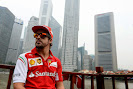 Fernando Alonso with Singapore skyline