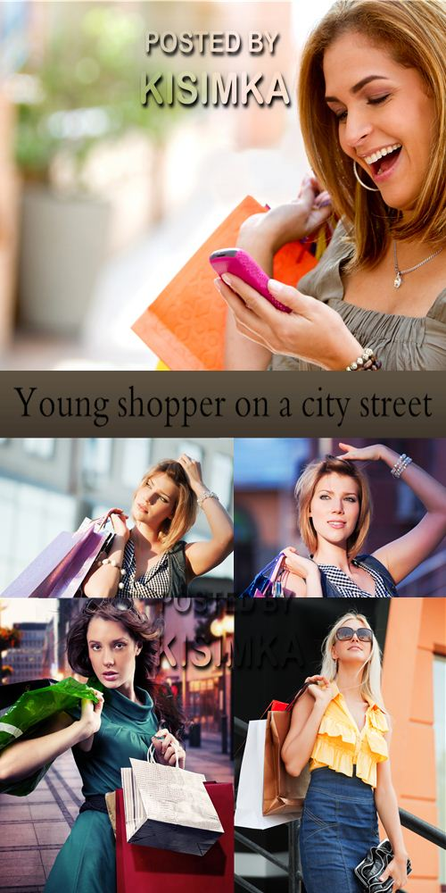 Stock Photo: Young shopper on a city street