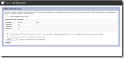 Lilac Configurator Database Settings