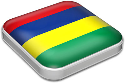 Flag of Mauritius with metallic square frame