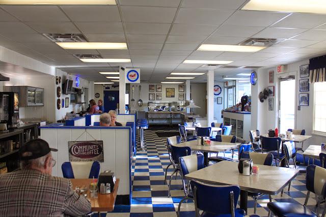 blue and white restaurant