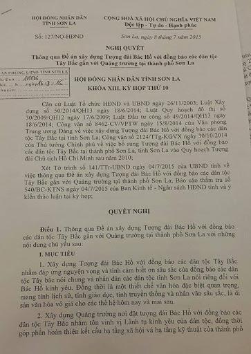 """Tìm hiểu về việc """"HĐND tỉnh Sơn La ra nghị quyết thông qua Đề án xây dựng tượng đài Bác Hồ với đồng bào các dân tộc Tây Bắc gắn với quảng trường tại TP Sơn La, tổng mức đầu tư là 1.400 tỉ đồng"""""""