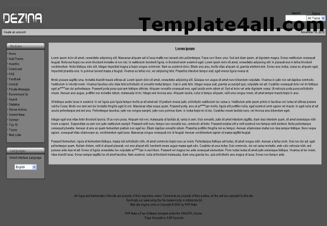 Dark Grey Black Phpnuke Theme