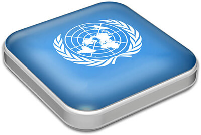 Flag of United Nations with metallic square frame