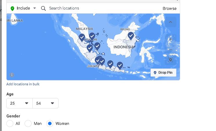 target lokasi audience Facebook Ads