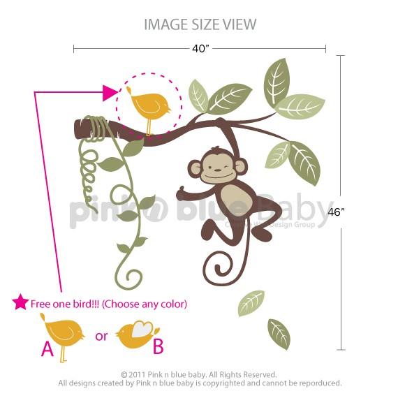 Great Hanging Monkey Kids Vinyl Wall Sticker Decal Set FREE BIRD