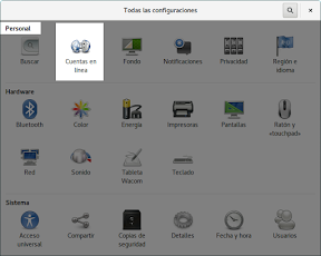 Como configurar GNOME con detalle. Configuración personal. Cuentas en línea.