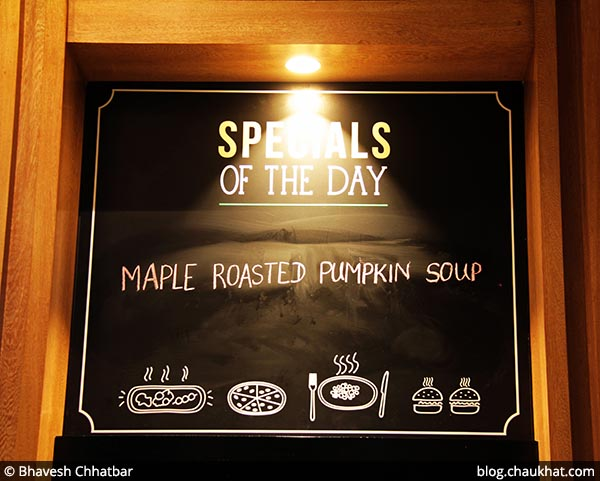 Specials of the day board at 212 All Day Cafe & Bar at Phoenix Marketcity in Pune