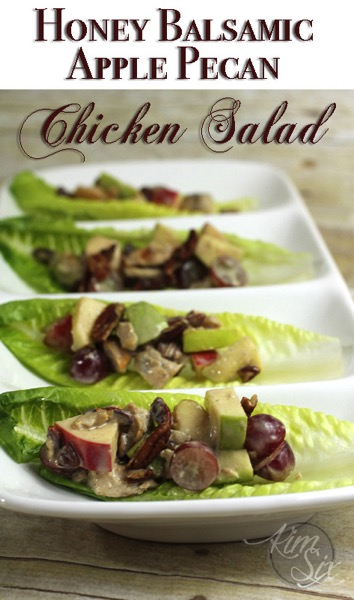 Honey Balsamic Apple Pecan Chicken Salad Lettuce Wraps