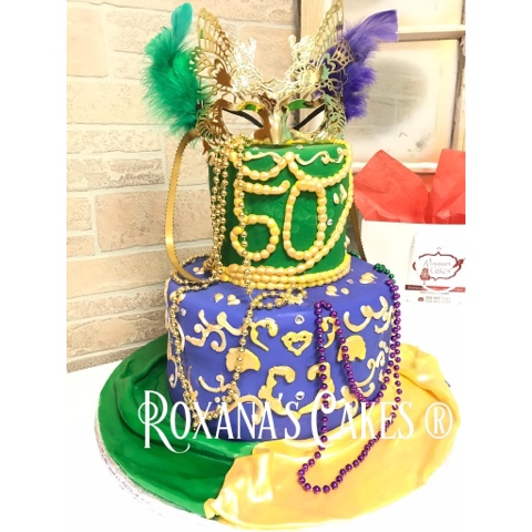 Astounding Baking With Roxanas Cakes 50Th Birthday Cake Mardi Gras Themed Funny Birthday Cards Online Alyptdamsfinfo