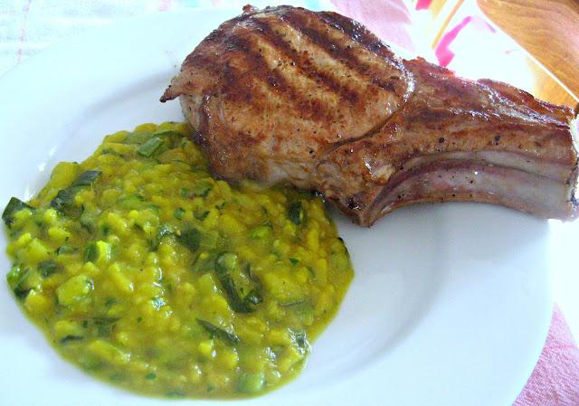 Zucchini & Squash Risotto with Roasted Pork Chops (Risotto alla Zucchine / Cucuzza con Braciola di Maiale)
