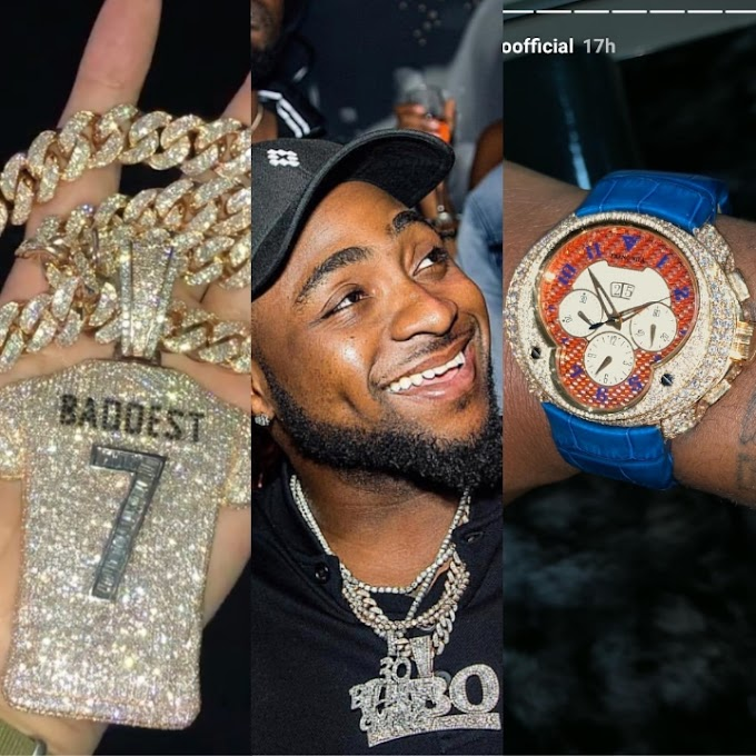 Early Birthday Gifts; Davido Samples Expensive Diamond Encrusted Neck Piece & Wristwatch