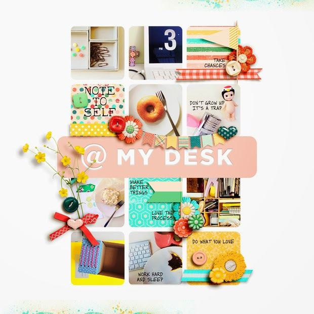 @ My Desk // Scrapbook Layout // 12x12 // Summer Punch by Melissa Bennett