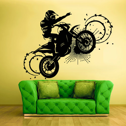 Wall vinyl sticker decals decor art mural tribal dirt bike for Dirt bike wall mural