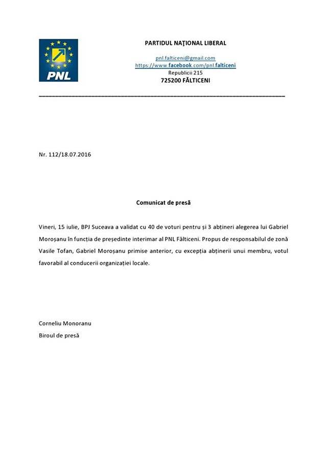 Gabriel Moroșanu, președinte interimar PNL Fălticeni
