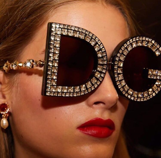 Crystal Embellished D&G Oversized Logo Sunglasses