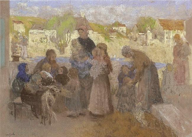 Ker Xavier Roussel - Femmes et enfants devant le hameau ou Laissez venir à moi les petits enfants