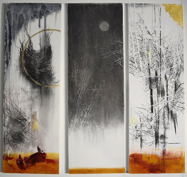 """Retreat of the Moon"" triptych -each piece 36x12 Mixed Media on Canvas , charcoal, oil, 23k gold leaf) The Avenue Gallery, Victoria BC . Framed. SOLD"