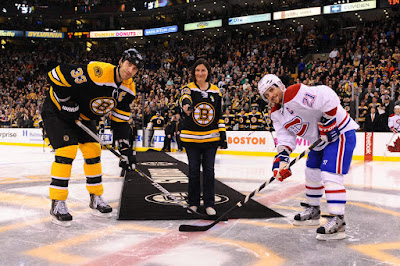 Pre-game puck drop with Zdeno Chara, Natalie Hammond and Brian Gionta