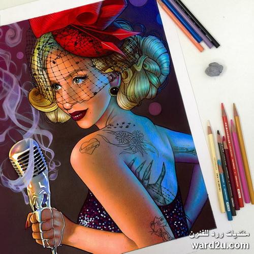 لوحات رائعه بالاقلام الملونه للفنانه Morgan Davidson