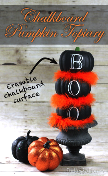 Chalkboard Painted Dollar Store Pumpkins and an Orange Feather Boa combine to make this fabulous halloween themed topiary