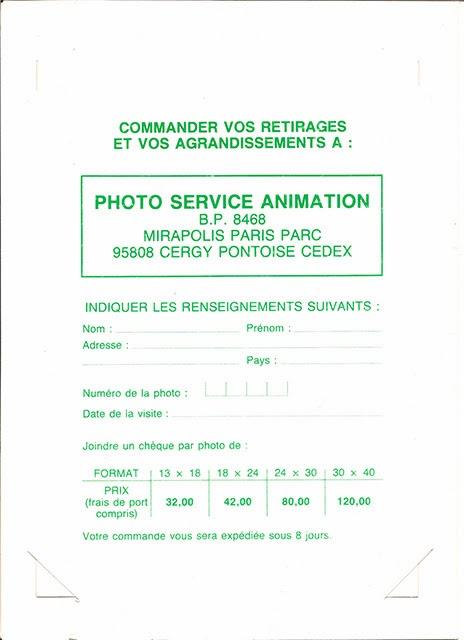 Carnet photo des rapides de Mirapolis tarifs 1987