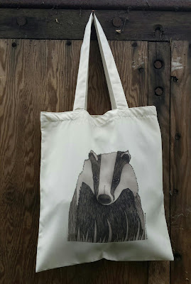 Badger -Recycled Tote Bag by Alice Draws The Line