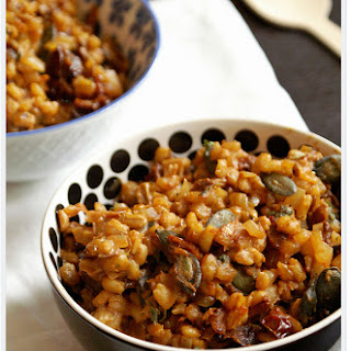 Barley with Dried Tomatoes and Porcini Mushrooms.
