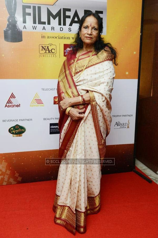 Vani Jayaram at the 61st Idea Filmfare Awards South, held at Jawaharlal Nehru Stadium in Chennai, on July 12, 2014.