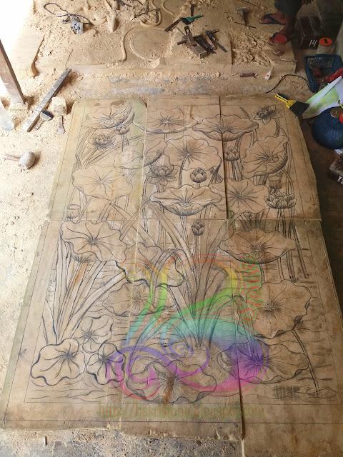 Desain relief lotus batu alam