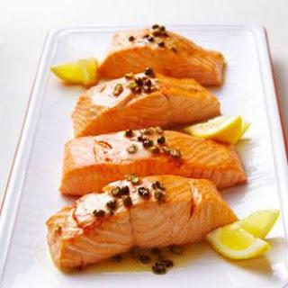 Seared Salmon with Green Peppercorn Sauce.