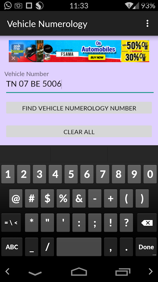 Vehicle Numerology- screenshot