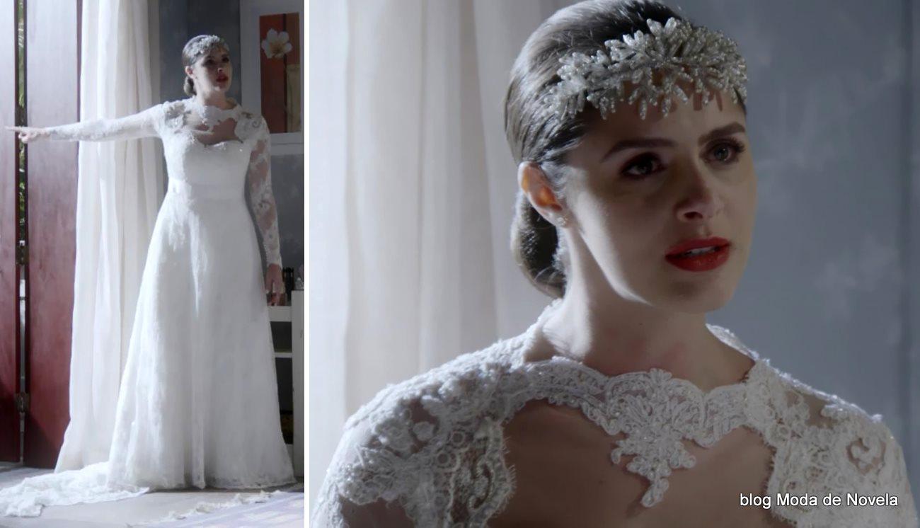 moda da novela Alto Astral, vestido de noiva da Maria Inês em flashback dia 21 de novembro
