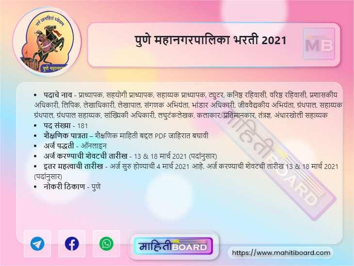 Pune Mahanagar Palika Recruitment 2021